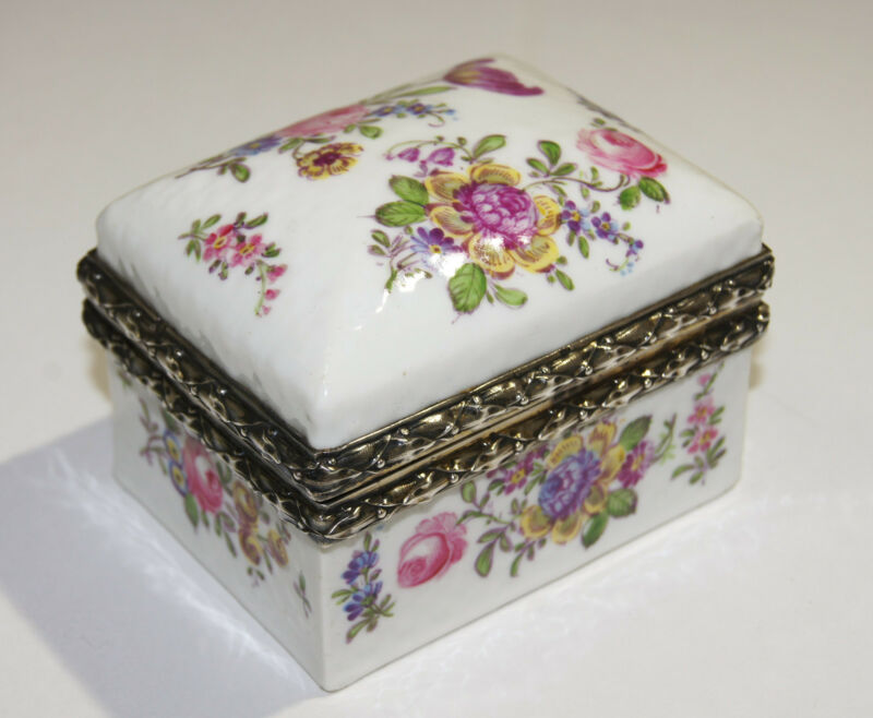 French Sterling Silver & Porcelain Hand Painted Rose Motif Box Antoine Eysen