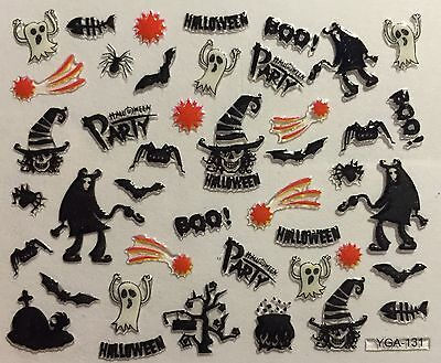 Nail Art 3D Decal Stickers Halloween Party Boo Bat Spider Ghost Devil YGA131