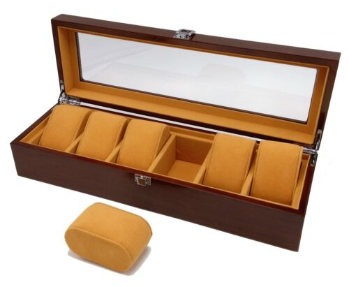 Polmart Premium Wood Watch Case Display and Storage Organization Series (6 Slot)