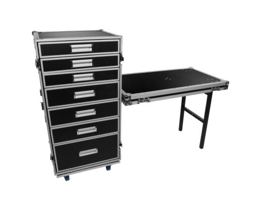 osp utility drawer production ata road case with standing table lid