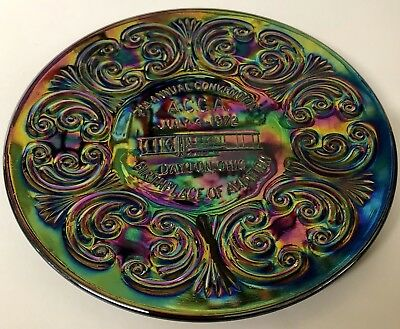 Vintage ACGA Imperial 1972 Convention Plate Dayton Ohio Carnival Glass Amethyst