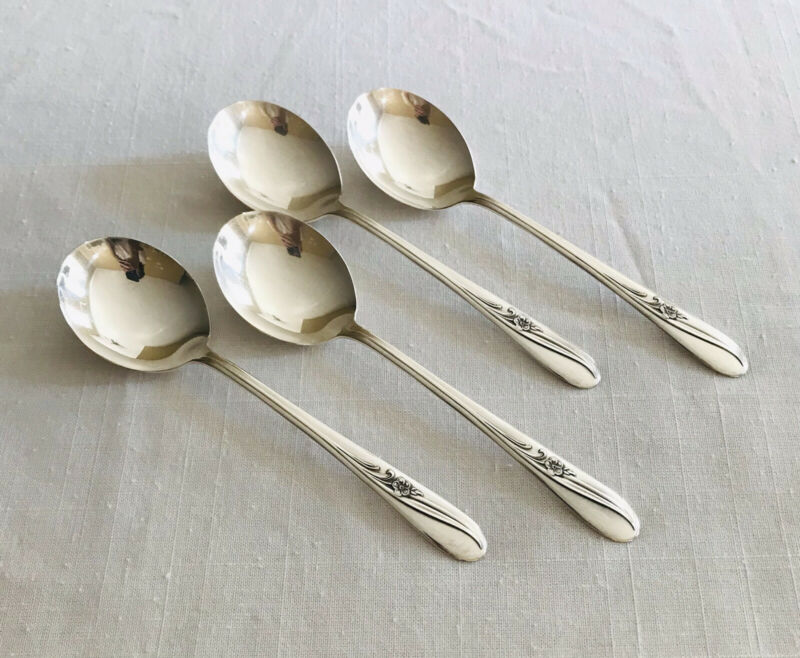 International Silver Holmes & Tuttle Meadow Flower 4 Round Bowl Soup Spoons 7 in