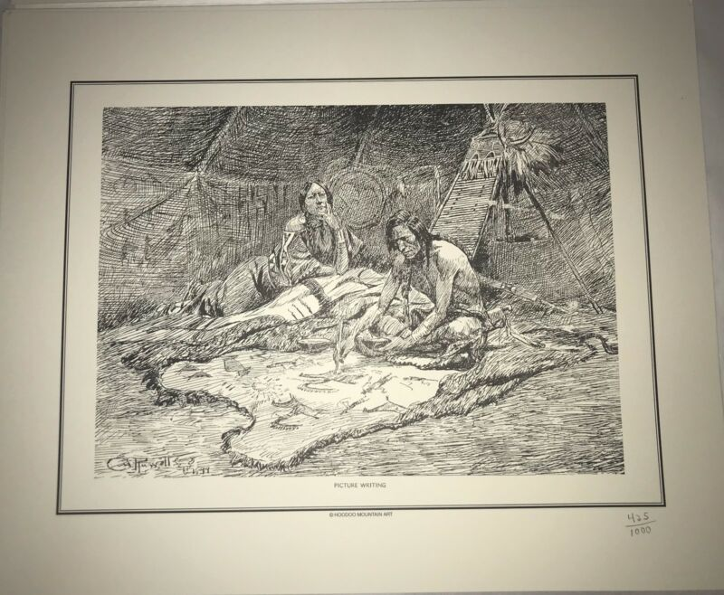 Russell set 11 Limited Edition Pen and Ink Sketch Prints Western Art Charles M