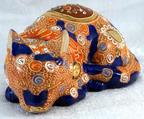 "Vintage Kutani Japanese Porcelain / Ceramic Sleeping Cat Figurine w Moriage 6 ½"""