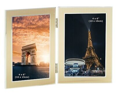 win 2 Picture Double Folding Photo Frame Multi Aperture Gift (4x6 Gold Frames)