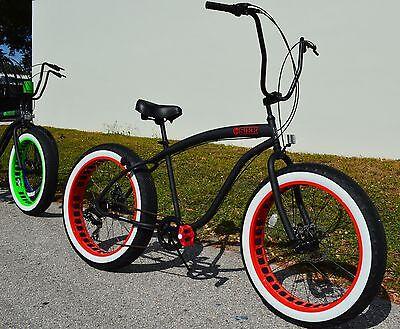 Red Beach Cruiser - Fat Tire Beach Cruiser Bike ?? SIKK Black w Red Rim WW Tires 7 SPEED-CUTOUT RIMS