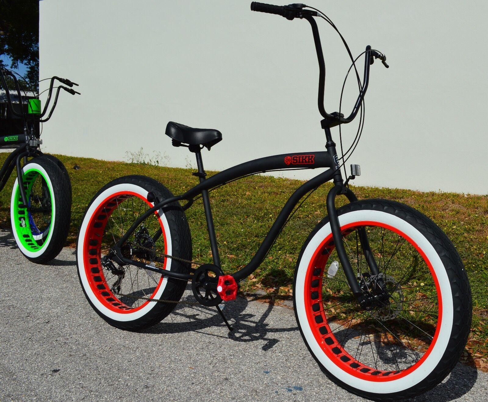 Fat Tire Beach Cruiser Bike ?? SIKK Black w Red Rim WW Tires 7 SPEED-CUTOUT RIMS