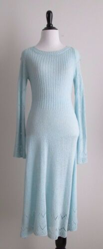 VINTAGE 70's Eddy & Barry Light Blue Sweater Dress w/ Long Sleeves Sz S/M