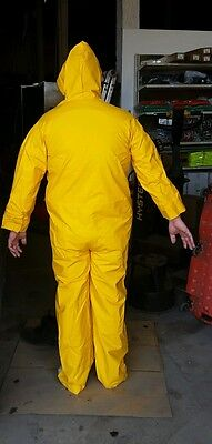 New Yellow Pvcpolyester Full Coverall Rain Gear Suit 35mm Hooded L-xl Unisex
