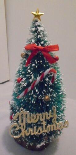 "Christmas Bottle Brush Tree Snow, Ornament, Wood Base 7"" Tall, 3"" Across Vintage"