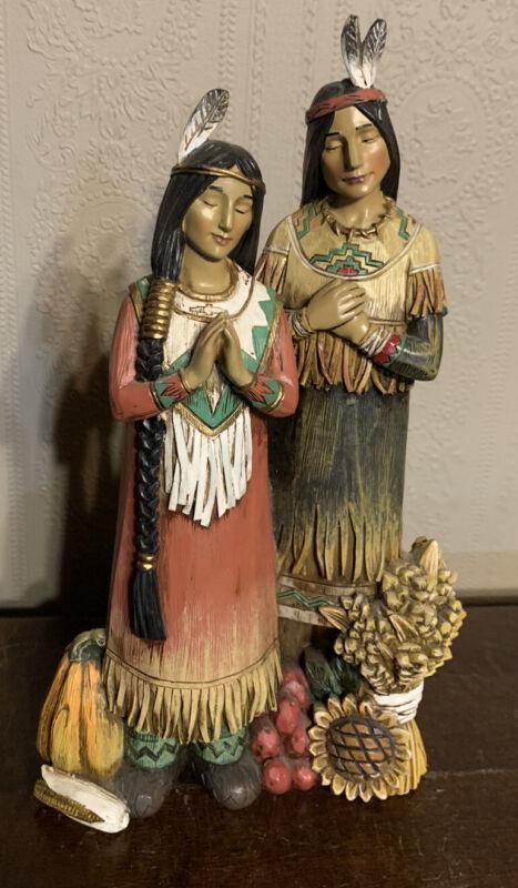 Vtg Resin Figure Thanksgiving Native American Indian Man & Woman Harvest