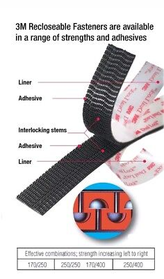 3m 1x 6 Dual Lock Sj3550 Black Reclosable Fastener Inoutdoor 4 Strips