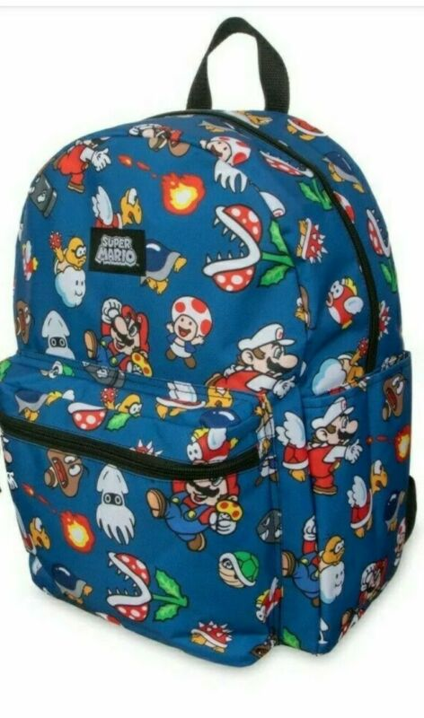 "SUPER MARIO All Over Print 16"" Backpack Book Bag Tote  ~ NEW"