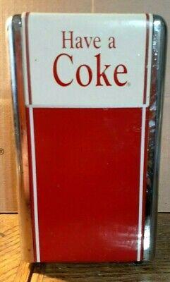 """Vintage Coca-Cola ® 1992 Metal Napkin Holder Dispenser Have A Coke 7 1/4"""" Tall"""