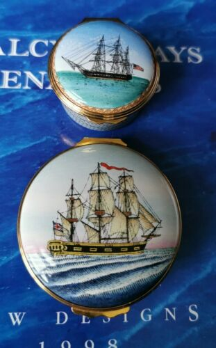 Halcyon Days Enamels Boxes x 2 Ship Related USS Constitution