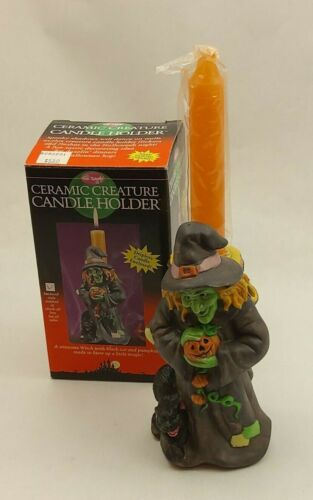 Fun World Halloween Ceramic Creature Candle Holder with Candle (Witch)