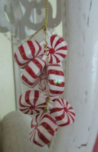 NEW Peppermint Candy Christmas Ornaments (9 Peppermints) Small Feather Tree