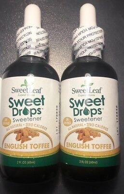 2 Pack Sweet Leaf Sweet Drops Liquid Stevia Sweetener, English Toffee 2 oz Ea.