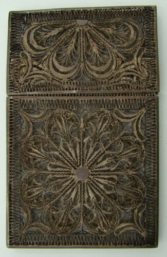 ORIGINAL ANTIQUE VICTORIAN STERLING SILVER FILIGREE CARD CASE ca 1840