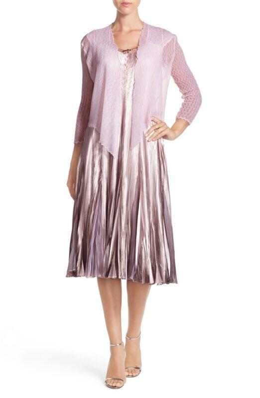 Komarov Charmeuse and Chiffon Dress with Jacket Pink Smoke XL Petite