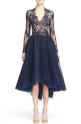 Reem Acra Navy Gold Chantilly Lace Tulle High Low Dress 8  Custom 1 Of A Kind