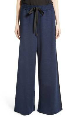 ADAM LIPPES Navy Blue Tuxedo Stripe Stretch Jersey Wide Leg Drawstring Pant L 10