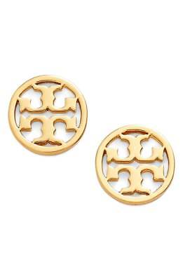 Tory Burch Classic Gold Circle Logo Stud Earrings - Retail $78