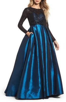 NEW MAC DUGGAL 62883D Teal Blue Black Beaded Sequin Taffeta Skirt Ball-Gown 14 Blue Sequin Ball Gown
