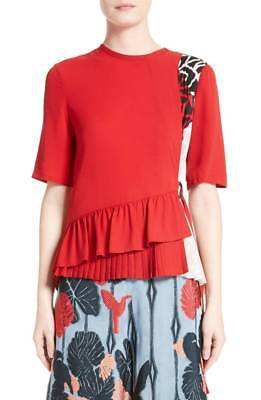 NEW YIGAL AZROUEL Red Side Belted Patchwork Ruffle Peplum Silk Blouse Top 6 US S