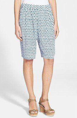 NWT $250 Rebecca Taylor 'Ditsy Tulip' Print Shorts Admiral Blue [SZ 8] #R15