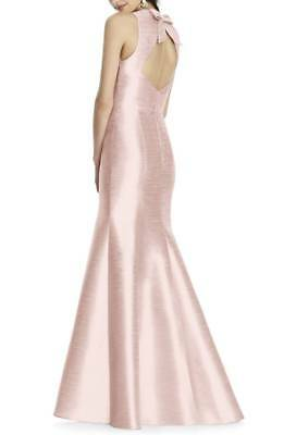 NEW ALFRED SUNG D734 Pearl Pink Dupioni Bow Open Back Flared Mermaid Gown 8 (Dupioni Bow)