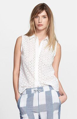 NWT $228 Equipment Femme 'Colleen' Eyelet Top Ivory [SZ Small] #B172
