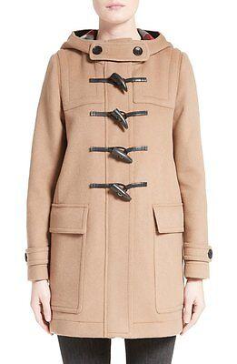 $1195 BURBERRY Brit Duffle Coat Baysbrooke Heart Lined Wool Camel Jacket 10- 44