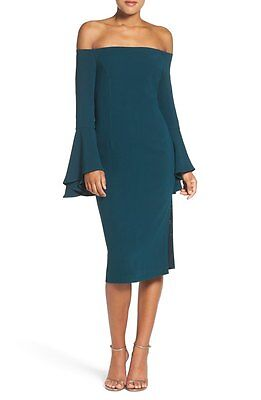 NEW BARDOT Teal Sexy Off the Shoulder Bell Sleeve Solange Milly Midi Dress 10 L