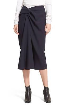 LANVIN Navy Blue Wool Twist Side Knot Elegant Draped Midi Pencil Skirt 40 US 8