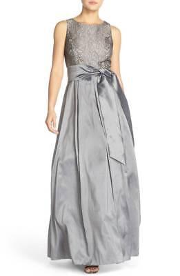 ELIZA J Grey Gold Metallic Bonded Lace Satin Pocket Taffeta Ball Gown Skirt 14