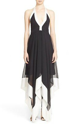 NWT $495 Alice + Olivia Handkerchief Hem Halter Dress Black/White [SZ 2] #N244