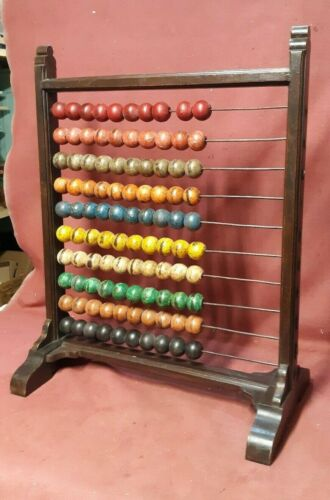Large Antique Victorian Schoolhouse Abacus Charming Colorful America