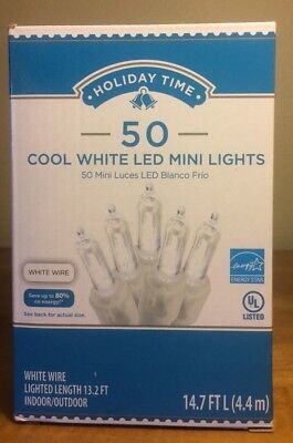Holiday Time 50 Cool White LED Mini Lights-Christmas-Wedding-NEW-White Wire  (Holiday Led Lights)