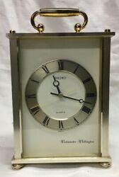 Vintage Seiko Westminster Whittington Quartz Carriage Mantle Clock  9 tall*
