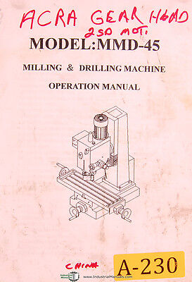 Acra China Mmd-45 Milling Drilling Machine Operations Manual