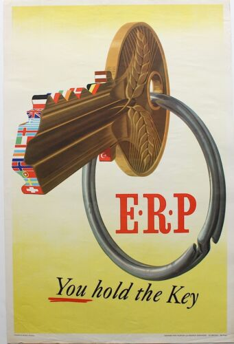 Vintage Poster Political Propaganda Poster Cold War Marshall Plan ERP Art Poster