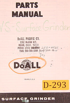 Doall Vs-612 1 2 And 3 Surface Grinder 50 Page Parts Lists Manual