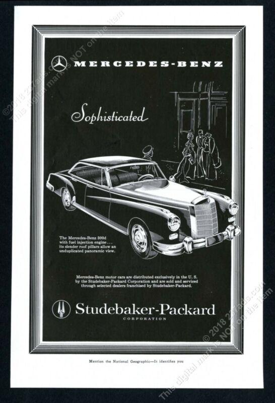 1958 Mercedes Benz 300 d 300d sedan elegant woodcut art vintage print ad 1