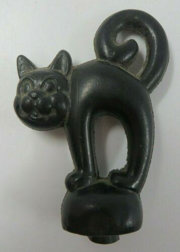Vintage Plastic BLOW MOLD Black Cat Candy Stick Cake Topper Hong Kong Halloween