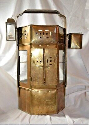 Vintage Asian Brass Street Vendor Noodle Cart Concession Stand Warmer With Glass