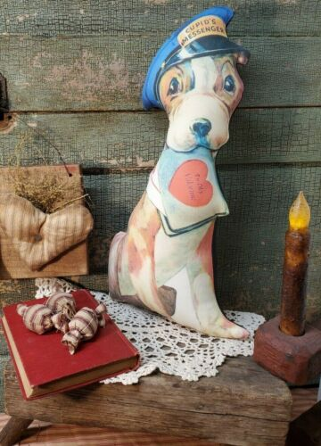 UNIQUE PRIMITIVE VINTAGE RETRO VICTORIAN STYLE 3D CUPIDS MESSENGER VALENTINE DOG
