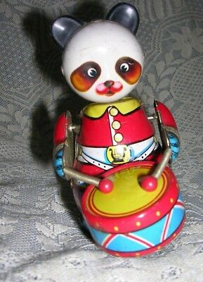 "Vintage Tinplate Clockwork Mechanical Toy Panda with drum no key 4"" high"