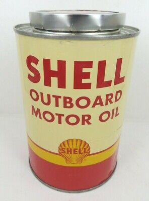 NOS FULL SHELL MARINE OUTBOARD Engine MOTOR OIL QUART tin metal can SF CA NY NY