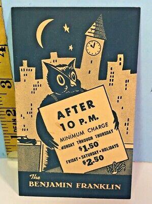 Vintage The Benjamin Franklin Hotel San Mateo Nightly Rate Night Owl Card